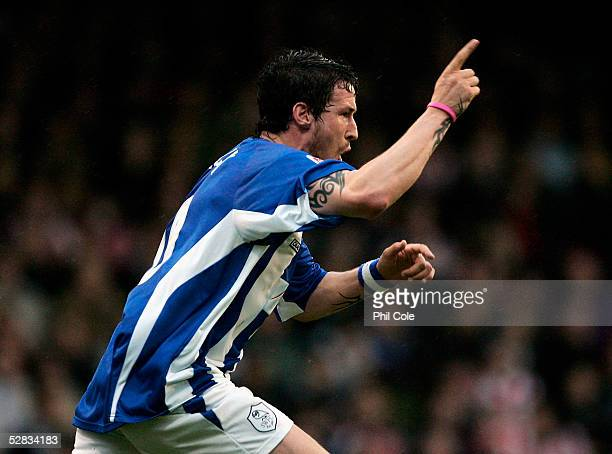 Lee Peacock of Sheffield Wednesday celebrates scoring a goal during the Coca-Cola League One Play Off, Semi Final, Second Leg match between Brentford...