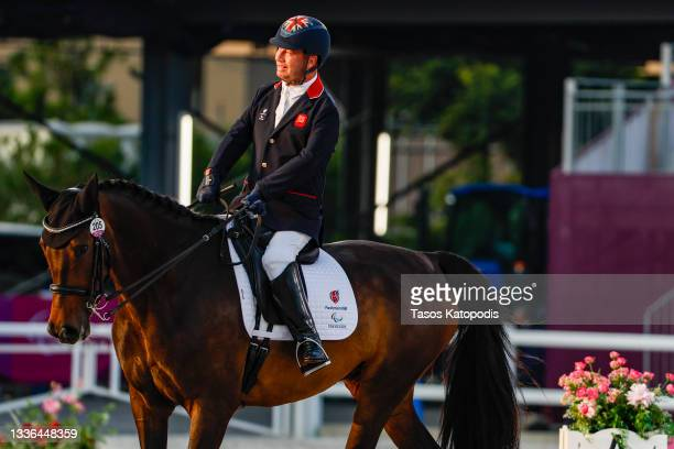 Lee Pearson of Team Great Britain competes with his horse Breezer in the Dressage Individual Test Grade II on day 2 of the Tokyo 2020 Paralympic...