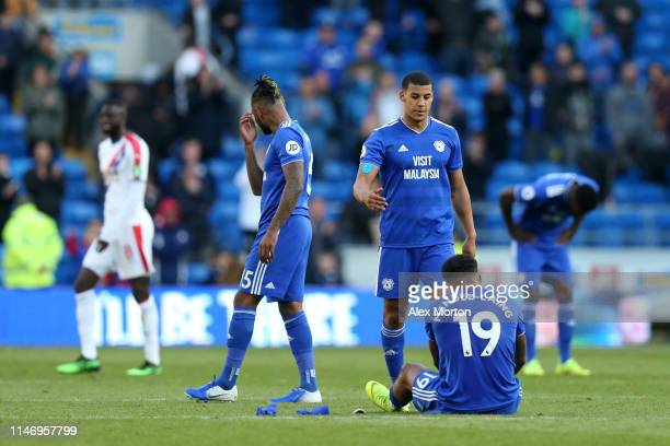 Lee Peltier of Cardiff City consults teammate Nathaniel MendezLaing as their team are relegated after loosing the Premier League match between...