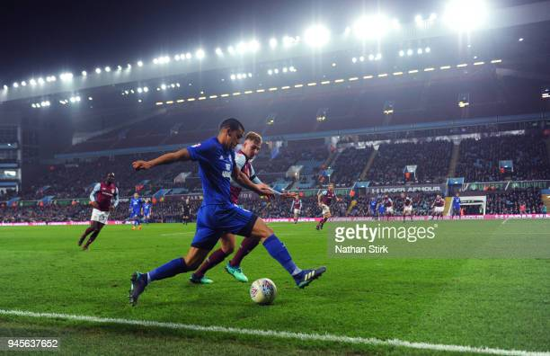 Lee Peltier of Cardiff City in action during the Sky Bet Championship match between Aston Villa and Cardiff City at Villa Park on April 10 2018 in...
