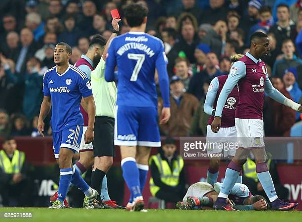 Lee Peltier of Cardiff City is sent off for a foul on Jack Grealish of Aston Villa during the Sky Bet Championship match between Aston Villa and...