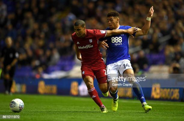 Lee Peltier of Cardiff holds off Che Adams of Birmingham during the Sky Bet Championship match between Birmingham City and Cardiff City at St Andrews...