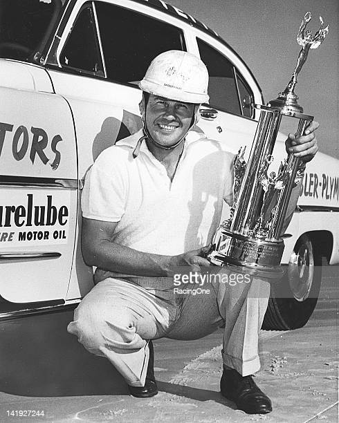 Lee Petty took time out from racing in circles to run in the Pure Oil Trials held at the Daytona BeachRoad Course He earned a trophy for being second...