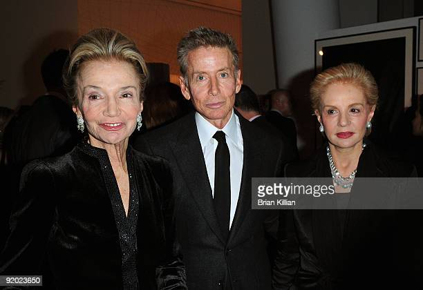 Lee Radziwill, Calvin Klein and Carolina Herrera attend the 2009 Golden Heart awards at the IAC Building on October 19, 2009 in New York City.