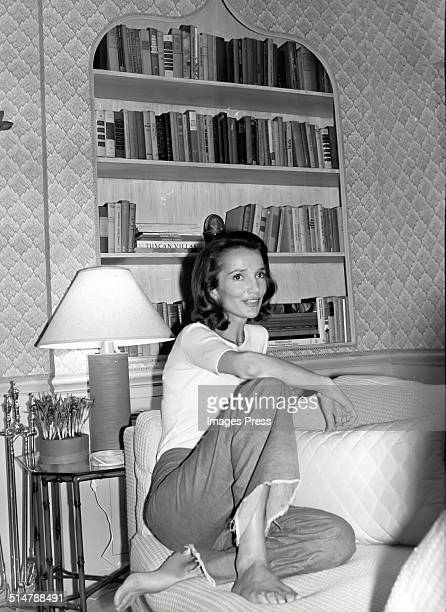Lee Radziwill photographed in the living room that she personally decorated circa 1976 in New York City.