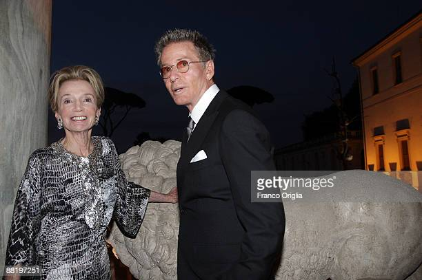 Lee Radziwill the sister of Jacqueline Kennedy Onassis and stylist Calvin Klein attend Marina Cicogna Opening Exhibition dinner at Villa Medici on...