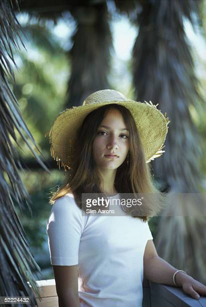 Lee Radziwill's daughter Anna Christina Radziwill posing at Lyford Cay in the Bahamas April 1974
