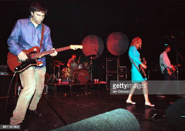Lee Ranaldo Kim Gordon and Thurston Moore of Sonic Youth performing on stage at The Forum Kentish Town London 17 April 1996