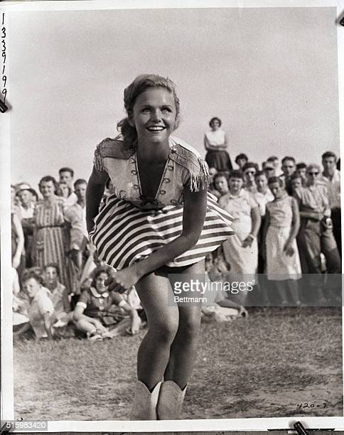 Lee Remick as Betty Lou in a scene from the 1957 film A Face in the Crowd She is shown in western attire performing before a crowd