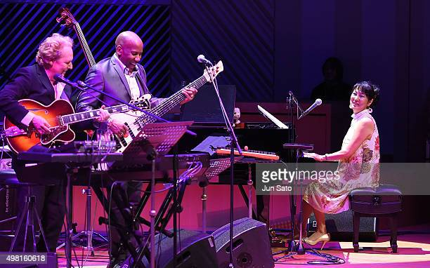 Lee Ritenour Nathan East and Hiroko Kokubu perform during Kawasaki Jazz on November 21 2015 in Kawasaki Japan