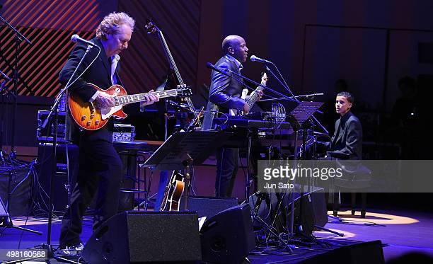 Lee Ritenour Nathan East and Noah East perform during Kawasaki Jazz on November 21 2015 in Kawasaki Japan