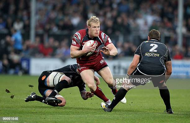Lee Robinson of Bristol charges upfield during the Championship playoff final match 1st leg between Exeter Chiefs and Bristol at Sandy Park on May 19...