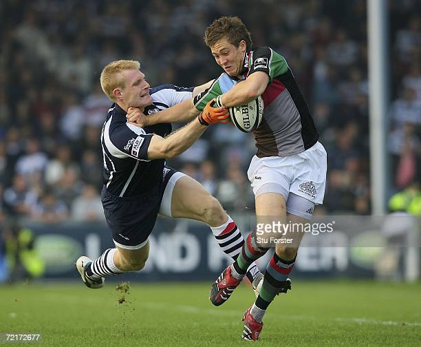 Lee Robinson of Bristol fails to tackle Mike Brown of Harlequins during the Guinness Premiership match between Bristol and NEC Harlequins at the...