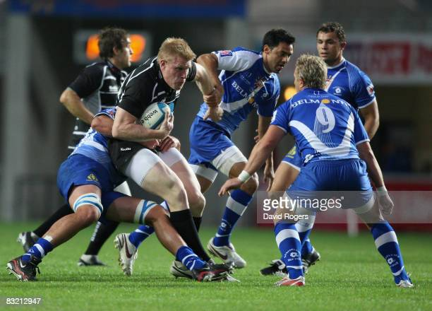 Lee Robinson of Bristol is stopped by the Montpellier defence during the European Challenge Cup match between Montpellier and Bristol at Stade Yves...