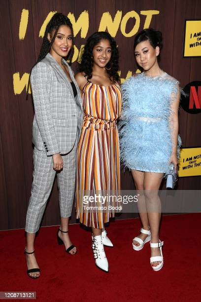 Lee Rodriguez Maitreyi Ramakrishnan and Ramona Young attend the Netflix's I Am Not Okay With This Photocall at The London West Hollywood on February...