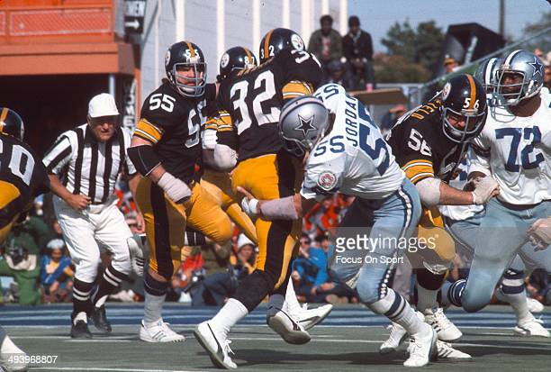 Lee Roy Jordan of the Dallas Cowboys tackles Franco Harris of the Pittsburgh Steelers during Super Bowl X January 18 1976 at the Orange Bowl in Miami...