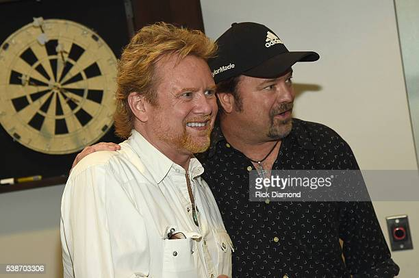 Lee Roy Parnell and Larry Stewart of Restless Heart attend the APA Nashville Party on June 7 2016 in Nashville Tennessee