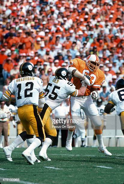 Lee Roy Selmon of the Tampa Bay Buccaneers in action against Jon Kolb of the Pittsburgh Steelers during an NFL football game November 9 1980 at Tampa...