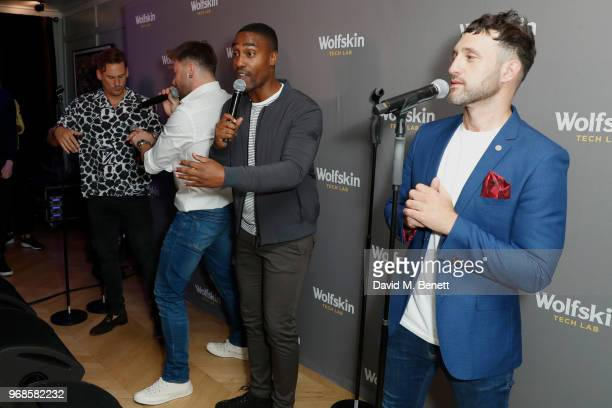 Lee Ryan Duncan James Simon Webbe and Antony Costa from Blue perform on stage at the WolfskinTechLab Collection Preview AW18 at The Groucho Club on...