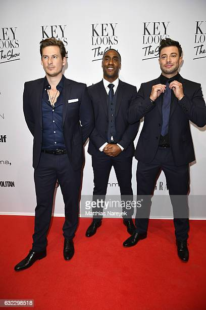 Lee Ryan Simon Webbe and Duncan James of the band Blue attend the 'Key Looks The Show' presented by Fashion ID show during the MercedesBenz Fashion...