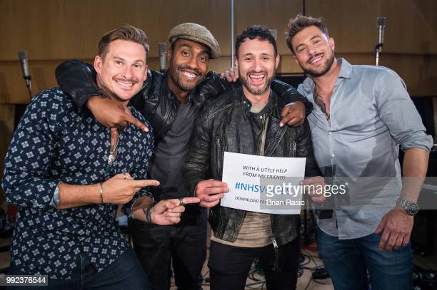 Lee Ryan Simon Webbe Antony Costa and Duncan James of Blue during the recordings of NHS Voices charity single 'With A Little Help From My Friends' at...