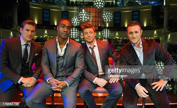 Lee Ryan Simon Webbe Duncan James and Anthony Costa of Blue pose at the premiere of the music video for the single 'Break My Heart' at Hippodrome...