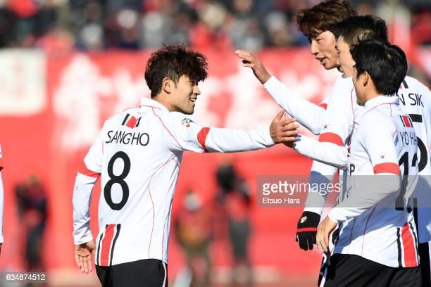 Lee Sang Ho#8 of FC Seoul celebrates scoring his team's first goal during the preseason friendly between Urawa Red Diamonds and FC Seoul at Urawa...