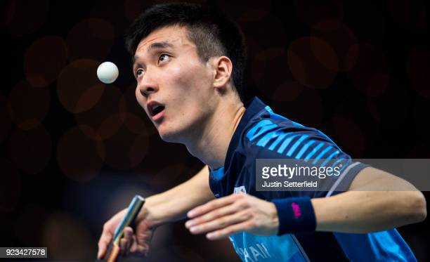 Lee Sang Su of DPR Korea serves during the ITTF Team World Cup Table Tennis at Copper Box Arena on February 23, 2018 in London, England.