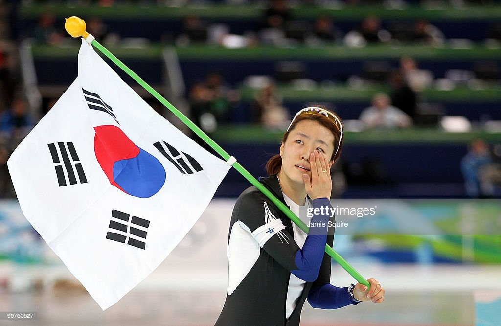 Lee Sang-Hwa of South Korea reacts after winning the gold during the women's speed skating 500 m on day five of the Vancouver 2010 Winter Olympics at Richmond Olympic Oval on February 16, 2010 in Vancouver, Canada.