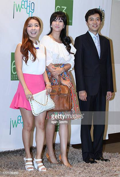 Lee SangMi Jo HyangGi and Yoo JungHyun attend Jang YoonJung and Do KyungWan Wedding at 63 building convention center on June 28 2013 in Seoul South...