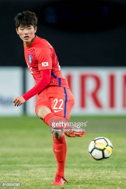 Lee SangMin of South Korea in action during the AFC U23 Championship China 2018 Semifinals match between Uzbekistan and South Korea at Kunshan...