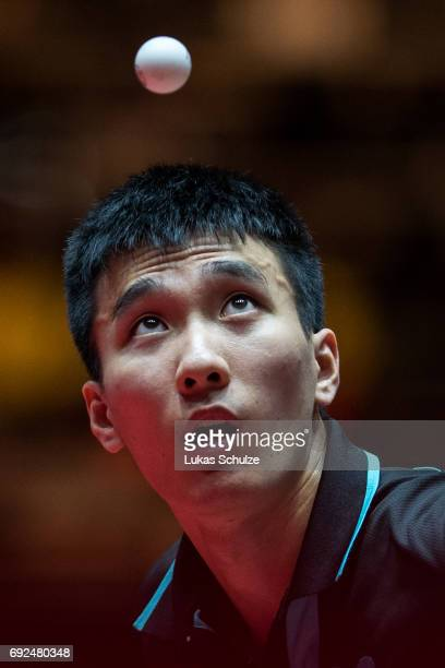 Lee Sangsu of Korea attends the Men's Singles Semi Final match of the Table Tennis World Championship at Messe Duesseldorf on June 5, 2017 in...