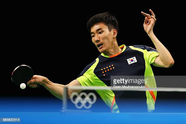 Lee Sangsu of Republic of Korea hits a shot in the Table Tennis practice session during the Olympics preview day - 1 at Rio Centro on August 4, 2016...