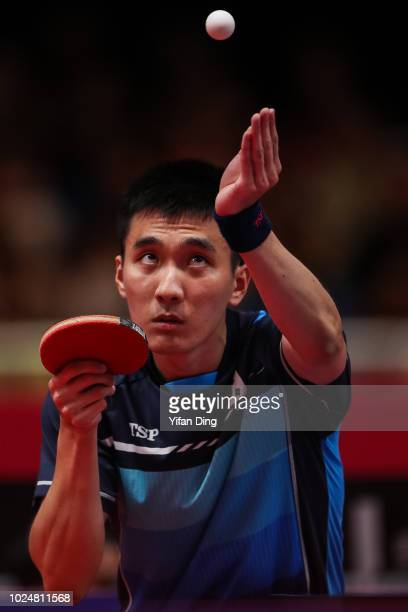 Lee Sangsu of South Korea in action during Men's Table Tennis Team Final between South Korea and China on day ten of the Asian Games on August 28,...