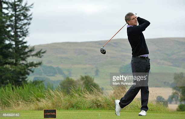 Lee Scarbrow of John O'Gaunt Golf Club on the 17th tee during the first round of the Lombard Trophy Grand Final at Gleneagles on September 2 2014 in...