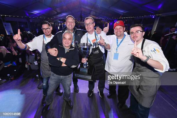 Lee Schrager Pat LaFrieda winner Chef Patrick Schaeffer and his team pose with the Pat LaFrieda 2018 NYCWFF Burger Bash Champion trophy for his...