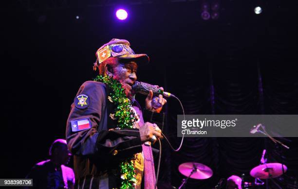 Lee Scratch Perry performs on stage at Koko on March 26 2018 in London United Kingdom