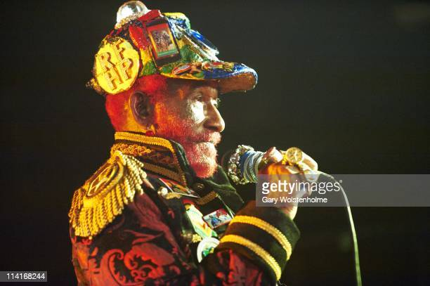 Lee Scratch Perry performs on stage during the first day of ATP Festival curated by Animal Collective at Butlins Holiday Centre on May 13 2011 in...