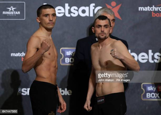 Lee Selby and Andoni Gago during the weighin at The O2 London