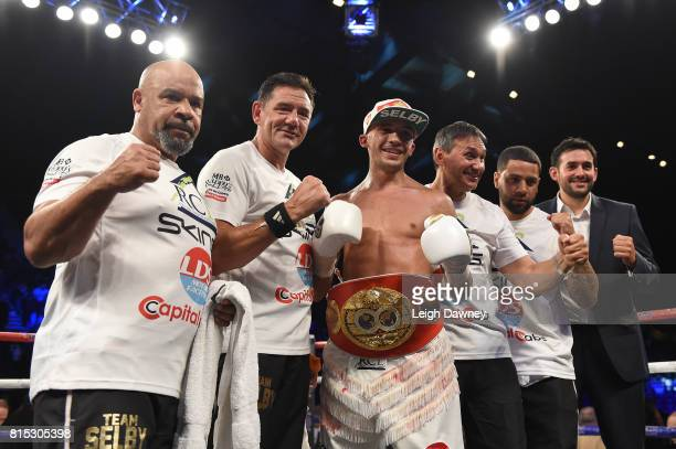 Lee Selby and team celebrate after he defeated Jonathan Victor Barros for the IBF World Featherweight titleat Wembley Arena on July 15 2017 in London...