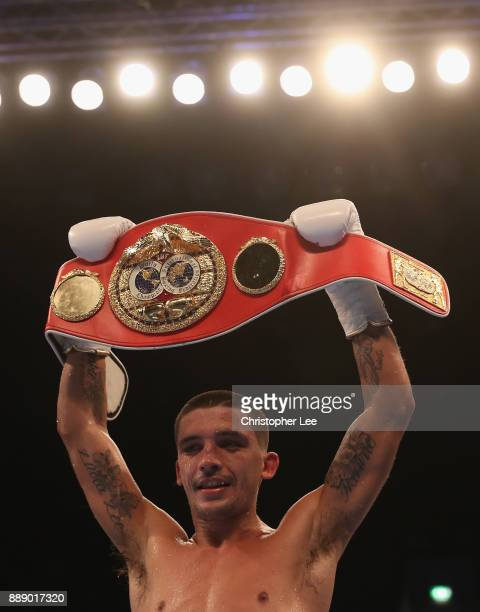 Lee Selby celebrates his victory over Eduardo Ramirez in the IBF World Featherweight Championship fight at Copper Box Arena on December 9 2017 in...