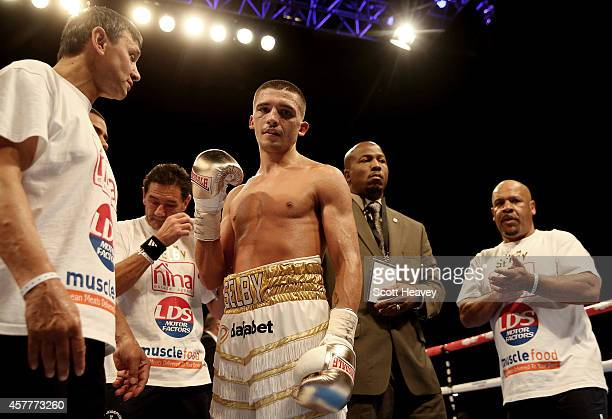 Lee Selby celebrates his victory over Joel Brunker during their Final Eliminator IBF Featherweight World Championship bout at O2 Arena on October 11...