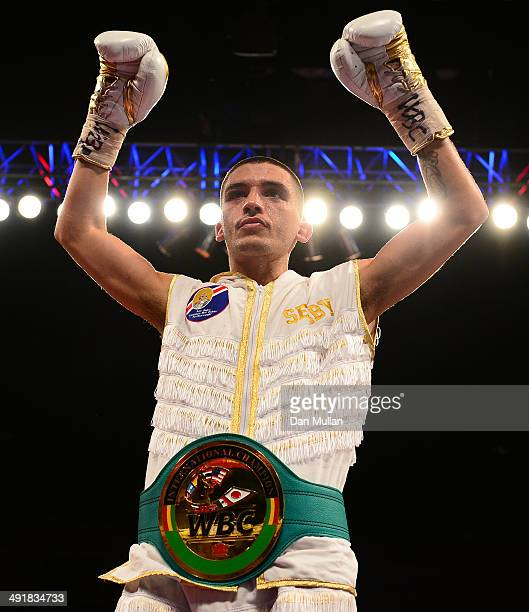 Lee Selby celebrates his victory over Romulo Koasicha during their WBC International Featherweight Title bout at the Motorpoint Arena on May 17 2014...