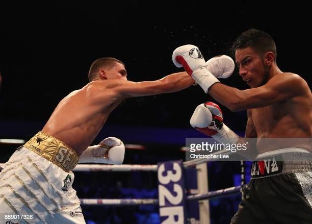Lee Selby in action as he beats Eduardo Ramirez in the IBF World Featherweight Championship fight at Copper Box Arena on December 9 2017 in London...