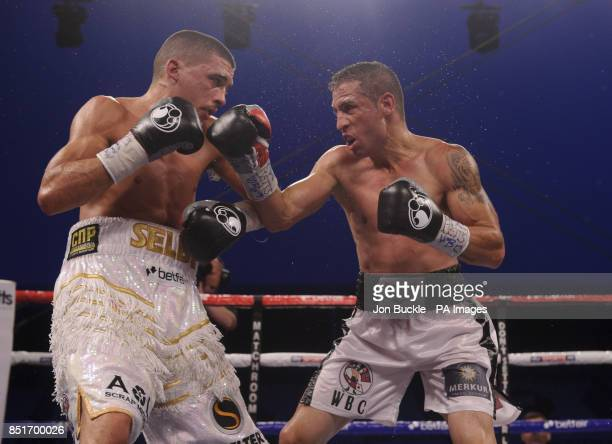 Lee Selby in action with Viorel Simion in their WBC International Featherweight Title fight at Craven Park Stadium, Hull.