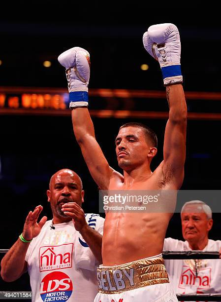 Lee Selby is introduced before fighting Fernando Montiel in the IBF featherweight championship title bout at Gila River Arena on October 14 2015 in...