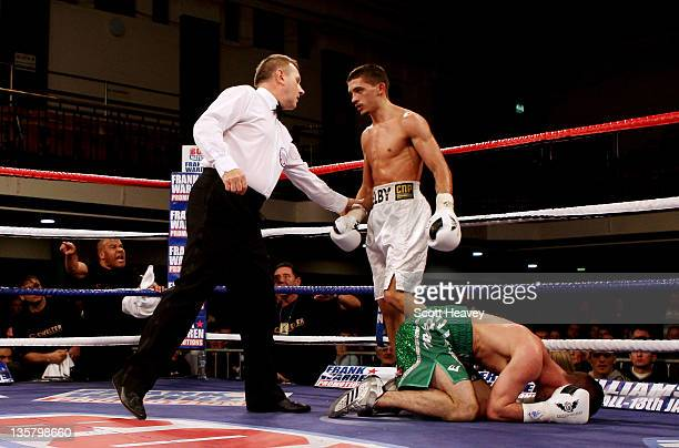 Lee Selby knocks out John Simpson during their British and Commonwealth Featherweight Championship contest at York Hall on December 14 2011 in London...