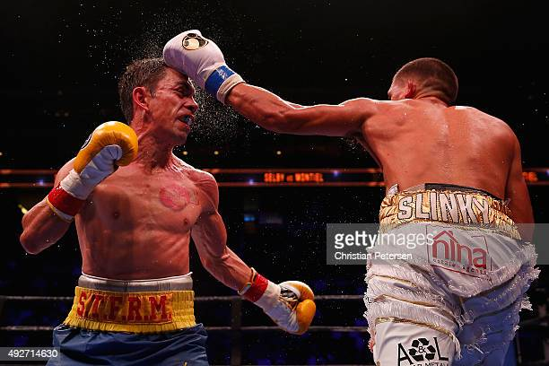 Lee Selby lands a left on Fernando Montiel during the IBF featherweight championship title bout at Gila River Arena on October 14, 2015 in Glendale,...