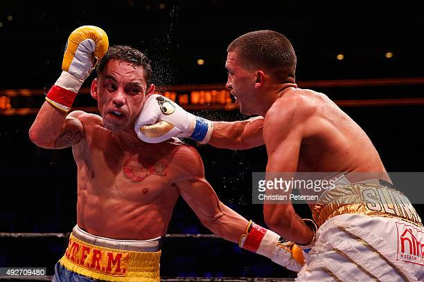 Lee Selby lands a right on Fernando Montiel during the IBF featherweight championship title bout at Gila River Arena on October 14, 2015 in Glendale,...