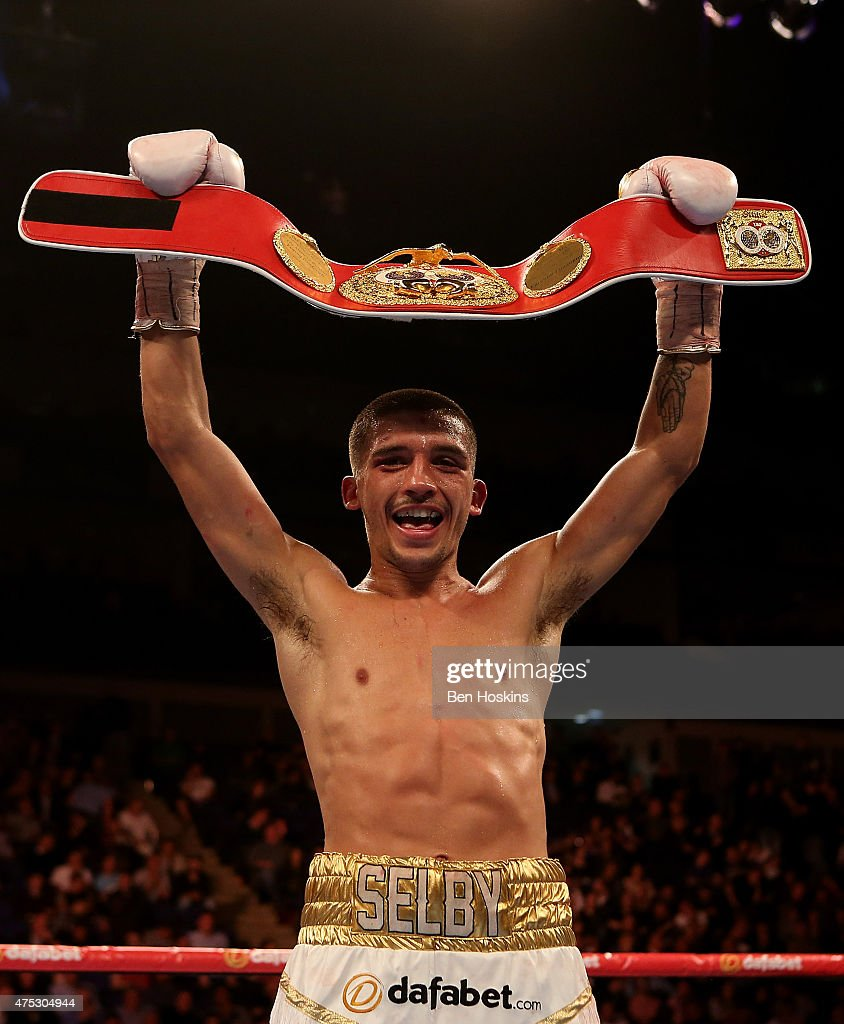 Lee Selby of Wales celebrates with the title belt after defeating Evengy Gradovich of Russia in the IBF Featherweight World Championship bout at The O2 Arena on May 30, 2015 in London, England.